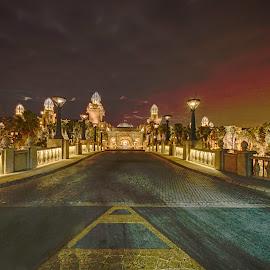 Road Ahead by Irwin Hackner - Digital Art Places ( buildings, hotel, bridge, road )