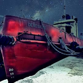 a tugboat by Zeljko Samardzic - Transportation Boats ( montenegro, old, adriatic, tugboat, ship, sea, docks, boat, red, sky, shipyard, stars, night, boka bay )