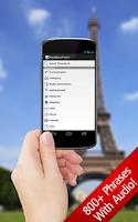 Screenshot of SpeakEasy French ~ Phrasebook