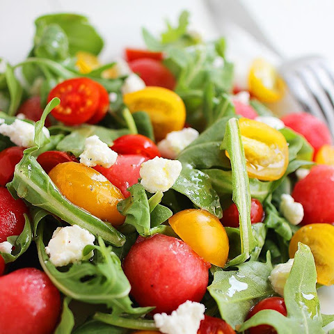 Watermelon & Feta Arugula Salad with Honey-Lemon Vinaigrette