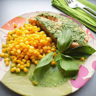 Salmon With Corn And Basil Sauce