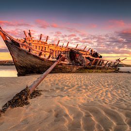 Eddies Shipwreck by Jigs Fernandez - Transportation Boats ( jigs fernandez, ireland, wreck, sunset, bunbeg, sunrise, donegal )