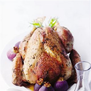 Roast Tarragon And Lemon Turkey With Stuffing-filled Onions