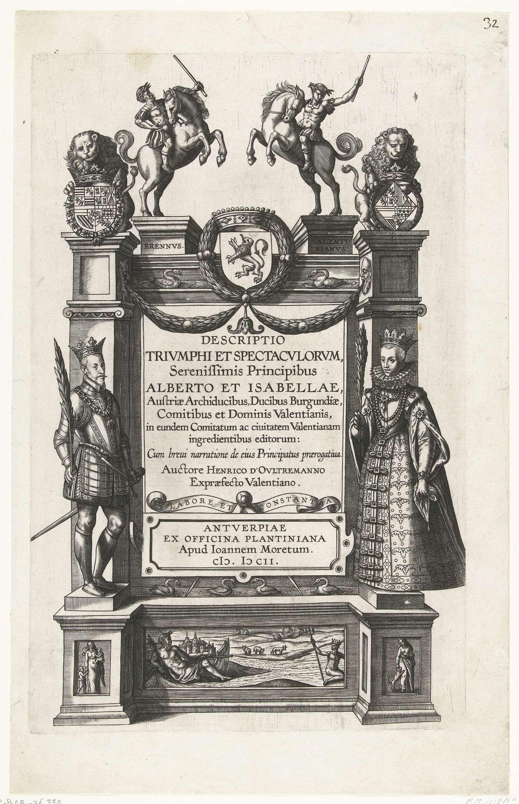 Titelprent voor de beschrijving van de intocht van Albrecht en Isabella te Valenciennes, 1599, anonymous, 1600 - 1602