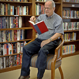 Light Reading by Jerry Ehlers - Digital Art People ( reading, levitation, book, library, man )