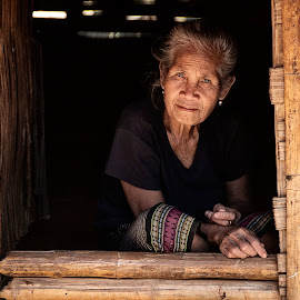 Old woman by the window by Vincent Lee - People Street & Candids ( bamboo, wooden, old lady, window, elderly, portrait,  )