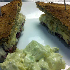 New Reuben Sandwich with natural corned beef and house made Thousand Island Dressing on mock rye bre