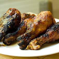 Grilled Chicken Drumsticks with Spicy Apple Glaze