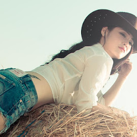 by Jikey Wee - People Portraits of Women ( cowgirl, women )