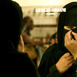 Getting fancy by Mike O'Connor - People Street & Candids ( mirror, reflections, beauty, giorgio armani, make-up, burka, eyes )