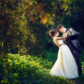 by Marius Marcoci - Wedding Bride & Groom ( forrest, wedding, loving, bride, grooms )