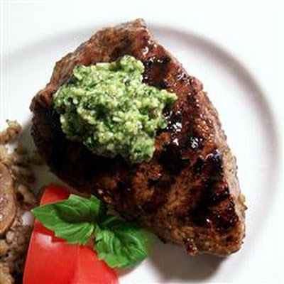 Lemon Basil Pesto Flat Iron Steak