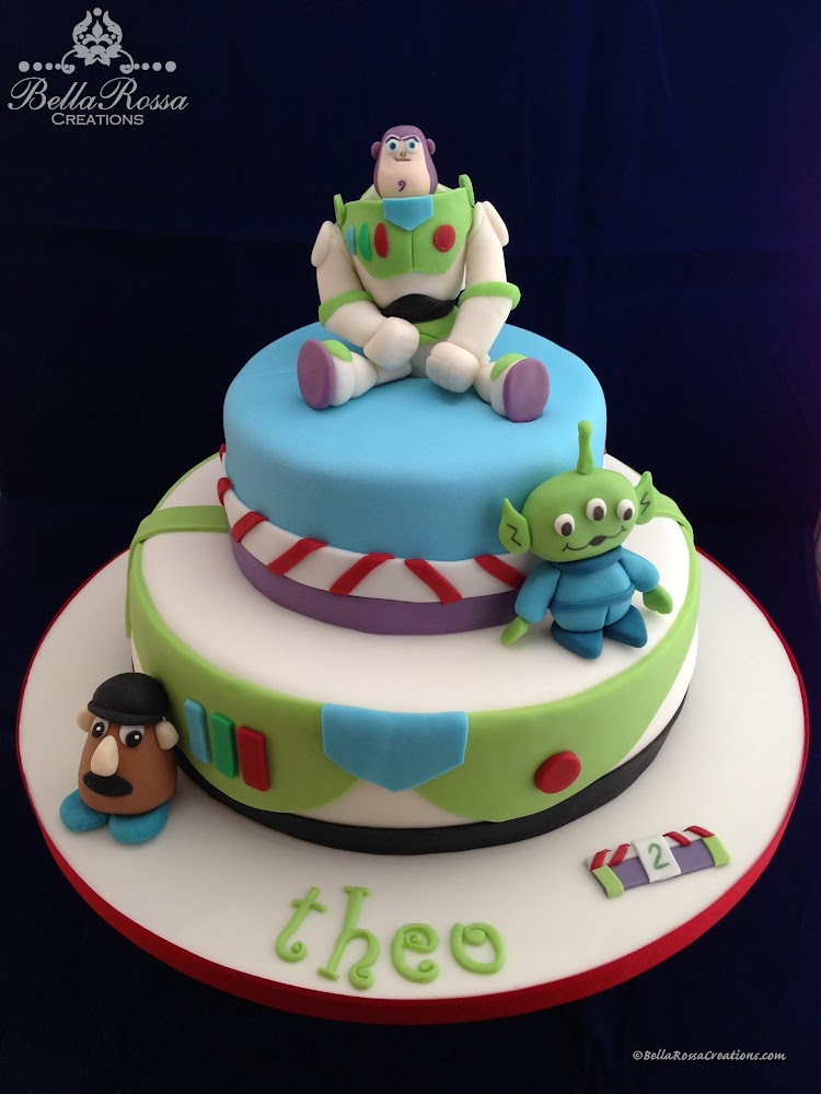 2-tier vanilla sponge cake with caramel ganache, decorated with 3D gum paste figurinies from Toy Story with Buzz Lightyear as the centre piece.