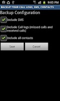 Screenshot of Backup Call logs,SMS & Contact