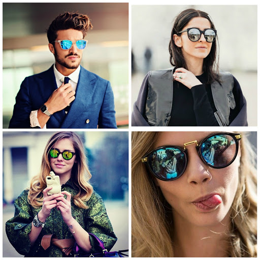 Mirrored lenses sunglasses collage