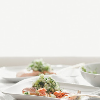 Poached Salmon with Cucumber Salsa