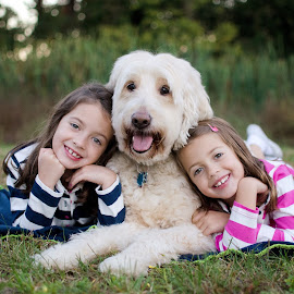 Lean on Me by Julie Talbert Barto - Babies & Children Child Portraits ( #portraits, #love, #goldendoodle, #children, #family,  )