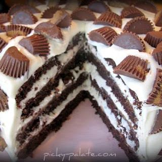 The Ultimate Chocolate Layered Reeses Peanut Butter Cup Birthday Cake!