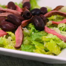 Leftover Steak Salad Recipe with Feta Vinaigrette and Kalamata Olives