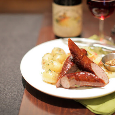 Seared Kielbasa with Mustard Potatoes & Braised Cabbage