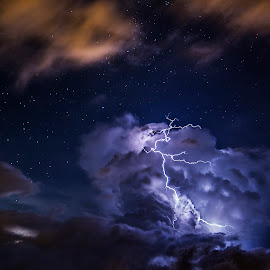 Thunder god of the stars  by Chris Gonzalez - Landscapes Weather ( clouds, thunder, milkyway, lightning, stars, night, storm )
