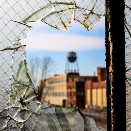 Blurry Through the Broken Glass by Ashley McCuen - Buildings & Architecture Decaying & Abandoned ( broken, michigan, building, window, glass, architecture, fisher, detroit, water tower, rack focus, decay, abandoned )