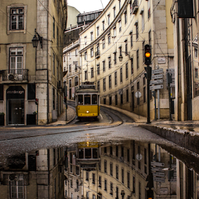 Yellow by Julija Moroza Broberg - City,  Street & Park  Vistas ( train tracks, reflection, old, street, street art, art, old city, old town, yellow, lisbon, old street, traffic, scene, train, view, puddle, portugal, low, traffic light, lisboa, rain, selective color, pwc )