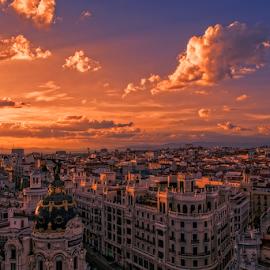 Madrid Sunset by Emilio Cabida - City,  Street & Park  Skylines ( metropolis, madrid, sunset, emerad, atardecer, gran via )