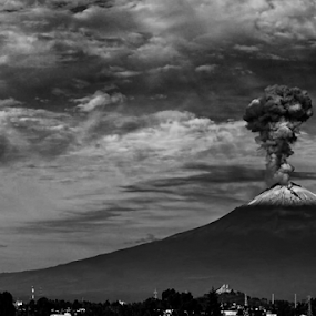 POpocatepetl with Eruption smoke by Cristobal Garciaferro Rubio - Black & White Landscapes