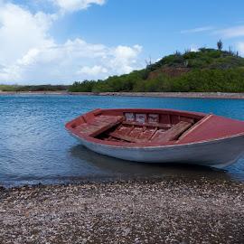 Tied down by Jermain Kerman - Transportation Boats ( water, blue sky, nature, landscape, boat )