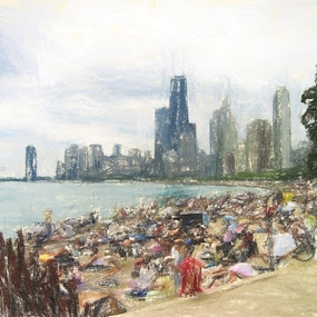 Chicago Beach by Dennis Granzow - Digital Art Places ( lake michigan, illinois, digital art, digital drawing, chicago, travel )