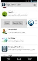 Screenshot of SwipeListView Demo