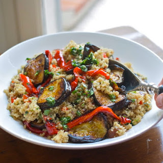 Roast Vegetable Quinoa Salad With Garlic & Parsley Oil