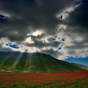 RGB by Fabio Ponzi - Landscapes Cloud Formations ( raylight, red, mountain, green, cloud, flowers )