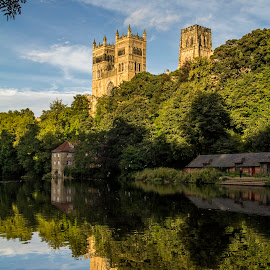 Durham Cathederal and reflection by Colin Waite - Buildings & Architecture Places of Worship ( cathederal church reflection mill river water trees clouds sky towers bullding worship )