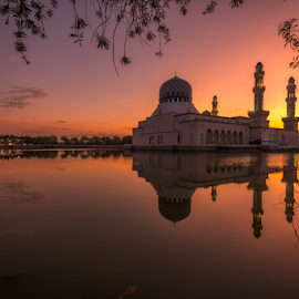 City mosque Kota Kinabalu, Sabah, Malaysia by Marc James - Buildings & Architecture Places of Worship ( reflection, waterscape, sunrise, places of interest, landscape )