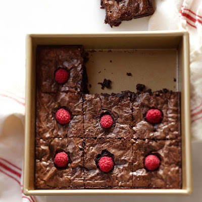 Brownies with Raspberries