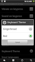 Screenshot of GB keyboard with night mode