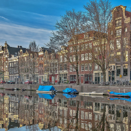 Dreamland! by Jesus Giraldo - City,  Street & Park  Neighborhoods ( reflection, colors, boats, buildings, amsterdam, homes, city )