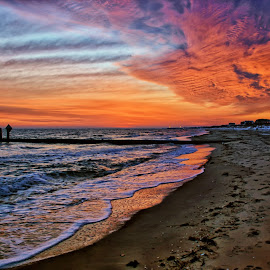 Teusday Morning by James Gramm - Landscapes Cloud Formations ( clouds, water, colors, virginia, sunrise, beach, usa )