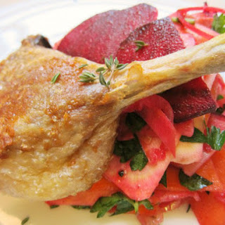 Slow-Roasted Duck Leg and Crunchy Root Vegetable Salad