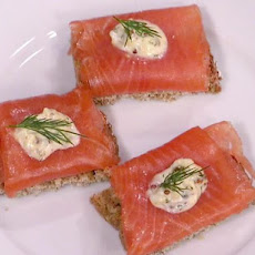 Irish Smoked Salmon on Brown Bread Crostini with Hard-Cooked Egg Aioli