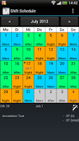 Screenshot of Shift Calendar (Shift Roster)