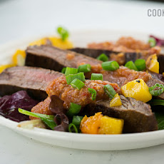 Steak with Romesco Sauce and Roasted Butternut Squash Salad