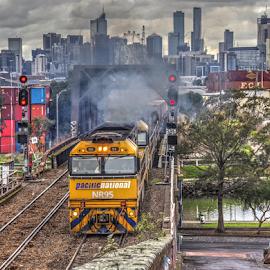 Under load by Peter Keast - Transportation Trains ( diesel, railway, engine, rail, train, bridge )