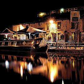 Pub by the canal by Sean Nolan - Transportation Boats ( night light, canals, pubs, waterways, long exposure, evening light, city canal )