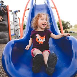 by Amy Bundy - Babies & Children Children Candids ( park scene, red hair, park, slide, toddler )