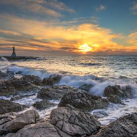 Sunset on the Adriatic coast... by Mario Španjić - Landscapes Sunsets & Sunrises ( adriatic, sunset, sea )