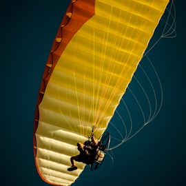 paraglide by David Ubach - Transportation Other ( paragliding, sky, paraglider, yellow )