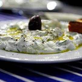 Tzatziki by Simona David - Food & Drink Plated Food ( olive oil, yogurt, tzatziki, yoghurt, fresh, freshness, fresh yoghurt, healty food, olives,  )